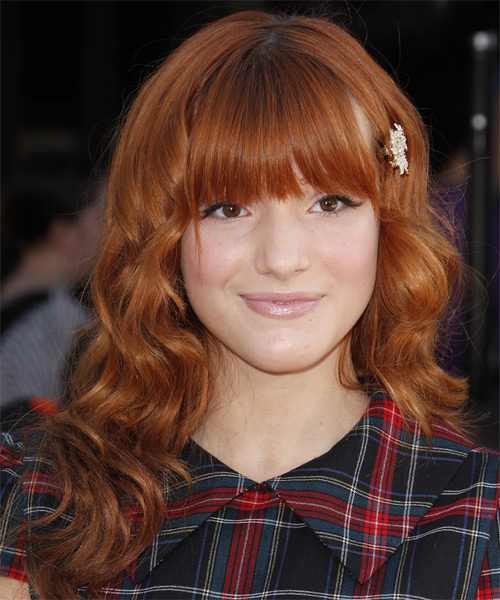 Bella Thorne Long Wavy Formal   Hairstyle with Blunt Cut Bangs  - Dark Red (Copper)
