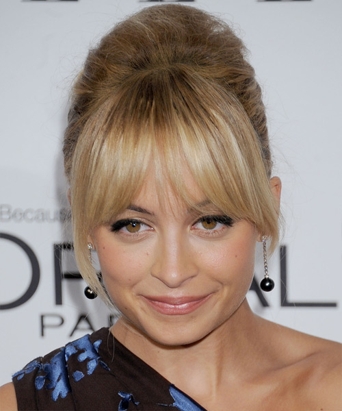 Nicole Richie Updo Long Straight Formal Wedding Updo Hairstyle with Layered Bangs  - Dark Blonde