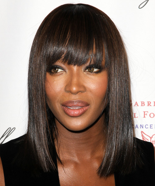 Naomi Campbell Medium Straight Formal Bob  Hairstyle with Blunt Cut Bangs  - Dark Brunette