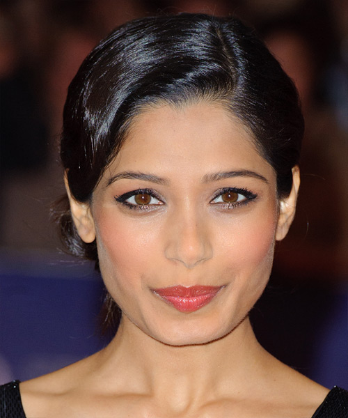 Freida Pinto Updo Long Straight Formal Wedding Updo Hairstyle   - Black