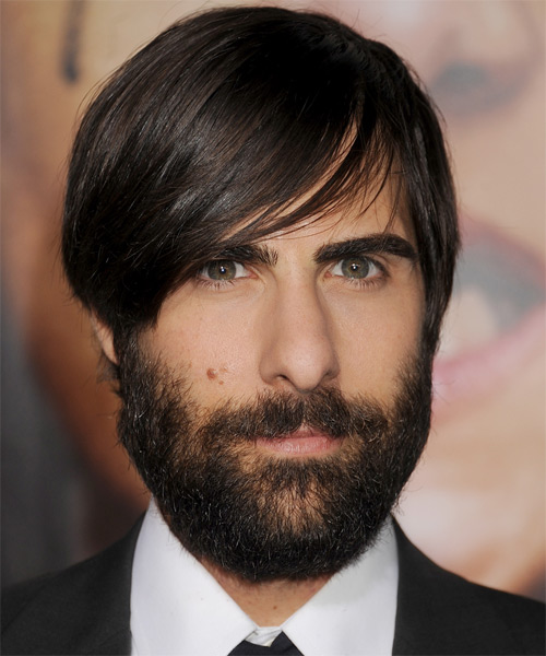 Jason Schwartzman Medium Straight Casual   Hairstyle with Side Swept Bangs  - Dark Brunette