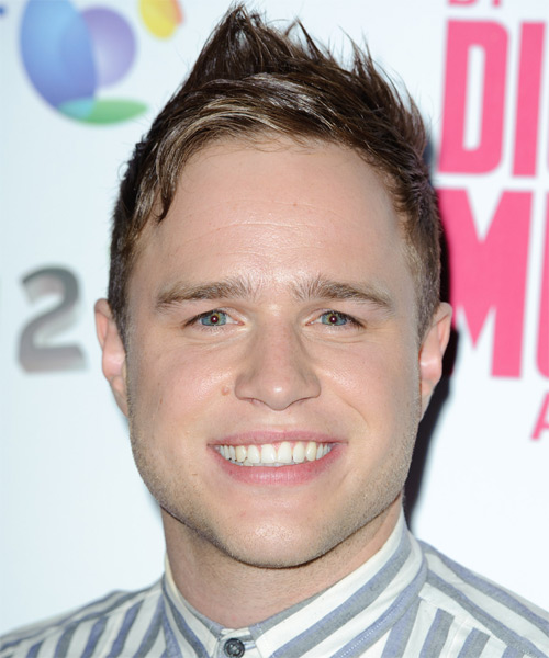 Olly Murs Short Straight Alternative  Emo  Hairstyle   - Light Ash Brunette Hair Color