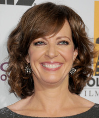 Allison Janney Medium Wavy Formal    Hairstyle with Side Swept Bangs  -  Chestnut Brunette Hair Color