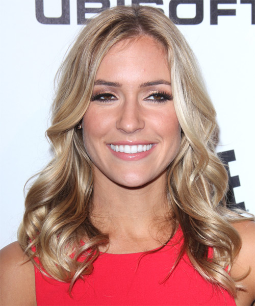 Kristin Cavallari Medium Wavy Casual    Hairstyle   -  Champagne Blonde Hair Color with Light Blonde Highlights