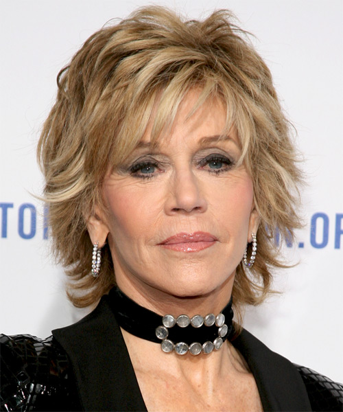 Jane Fonda Short Straight    Champagne Blonde   Hairstyle with Layered Bangs  and Light Blonde Highlights