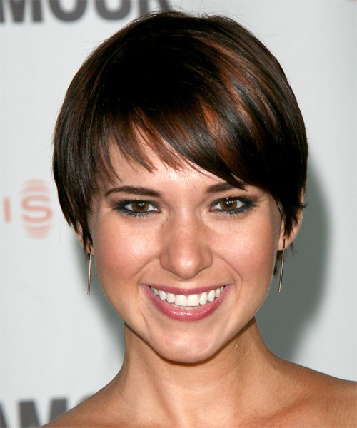 Kelli Barksdale Short Straight Casual   Hairstyle with Layered Bangs  - Dark Brunette