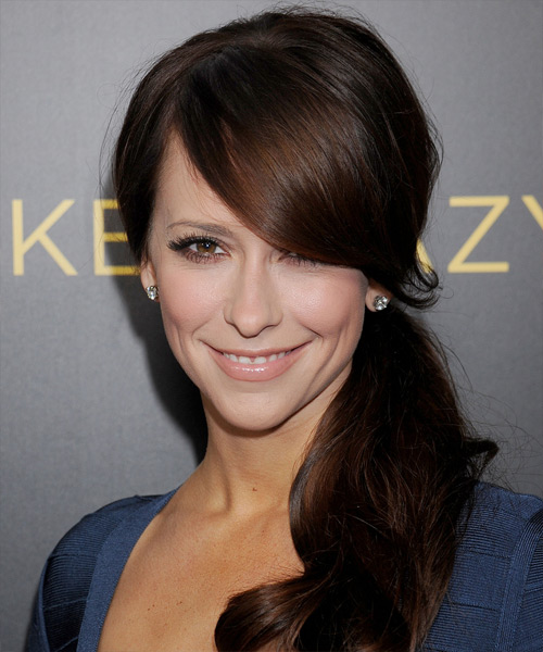 Jennifer Love Hewitt  Long Curly Formal   Half Up Hairstyle with Side Swept Bangs  - Dark Mocha Brunette Hair Color