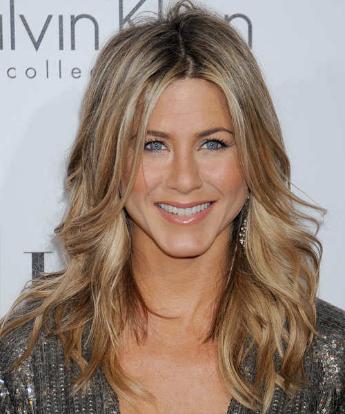 Jennifer Aniston Long Wavy Casual    Hairstyle   - Dark Champagne Blonde Hair Color with Light Blonde Highlights