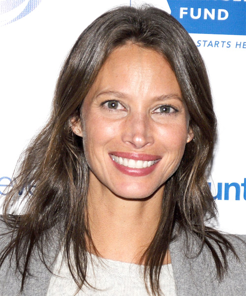 Christy Turlington Medium Straight Casual   Hairstyle   - Medium Brunette (Ash)