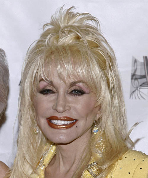Dolly Parton Medium Straight Alternative  Half Up Hairstyle