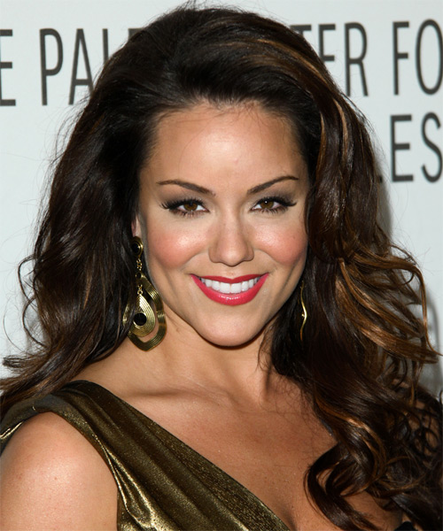 Katy Mixon Long Wavy Dark Brunette Hairstyle With Red