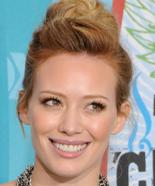 Hilary Duff Casual Long Curly Updo Hairstyle Dark Copper Blonde Hair