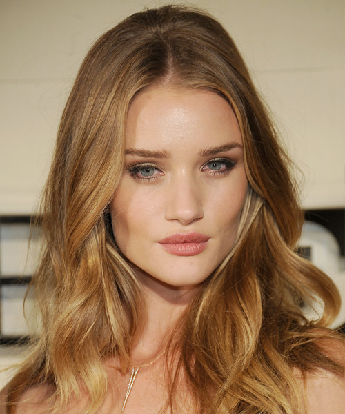 Rosie Huntington-Whiteley Long Wavy   Dark Caramel Blonde   Hairstyle   with Light Blonde Highlights