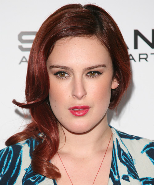 Rumer Willis Medium Wavy   Dark Auburn Red   Hairstyle