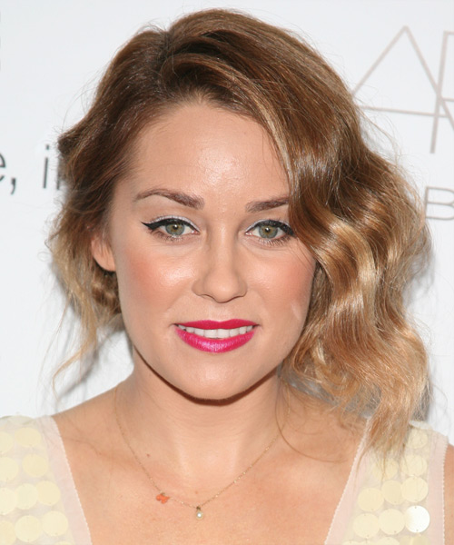 Lauren Conrad Half Up Long Curly Casual  Half Up Hairstyle   - Light Brunette
