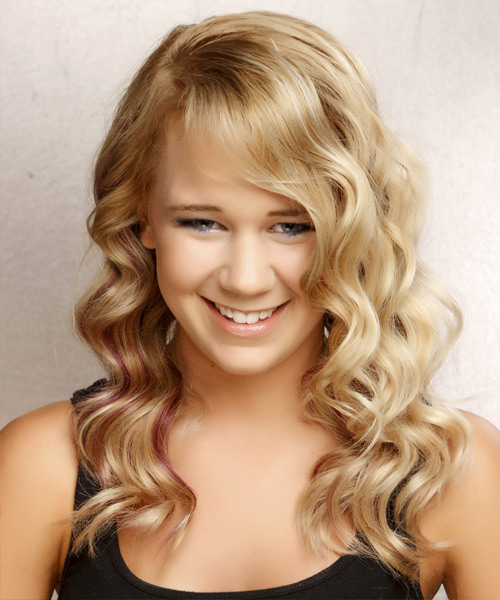 Long Wavy Formal   Hairstyle with Side Swept Bangs  - Light Blonde (Golden)