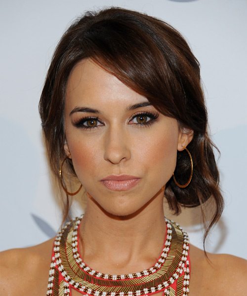 Lacey Chabert  Long Straight Casual   Updo Hairstyle with Side Swept Bangs  - Dark Brunette Hair Color with  Brunette Highlights