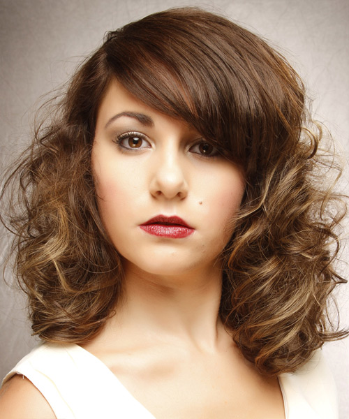 Medium Curly   Light Brunette   Hairstyle with Side Swept Bangs  and Light Blonde Highlights