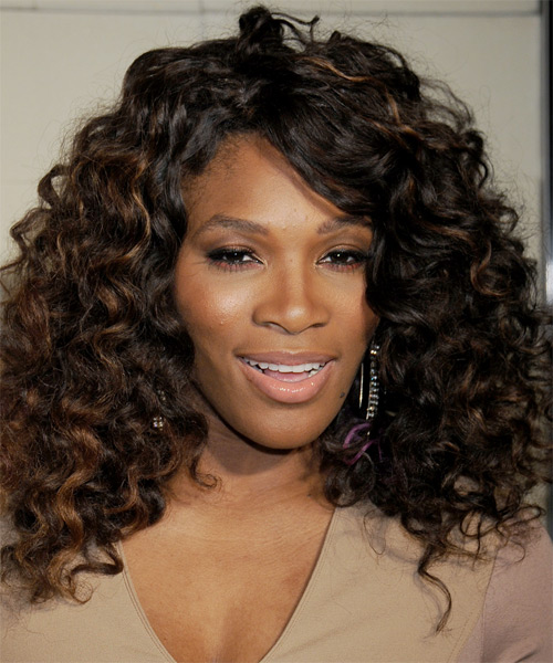 Serena Williams Long Curly Formal    Hairstyle with Side Swept Bangs  - Black  Hair Color with  Brunette Highlights
