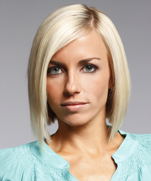 Medium Straight Layered  Light Platinum Blonde Bob  Haircut