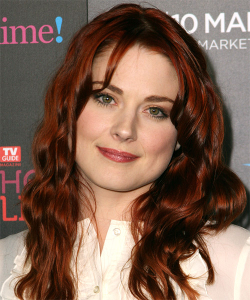 Alex Breckenridge Long Wavy   Dark Red   Hairstyle with Layered Bangs