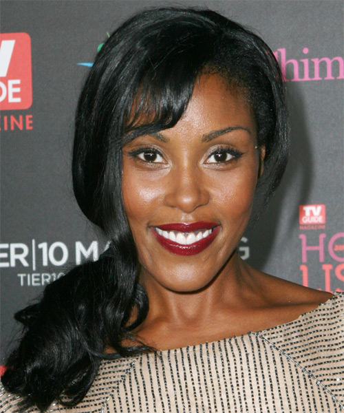 Christine Adams Half Up Long Curly Casual  Half Up Hairstyle with Side Swept Bangs  - Black