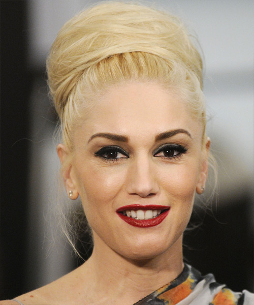Gwen Stefani  Long Straight Formal   Updo Hairstyle   - Light Golden Blonde Hair Color