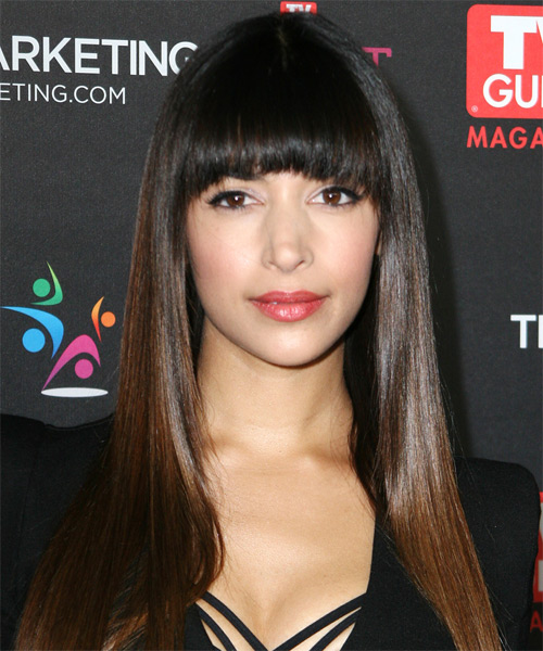 Hannah Simone  Long Straight   Dark Mocha Brunette   Hairstyle with Blunt Cut Bangs