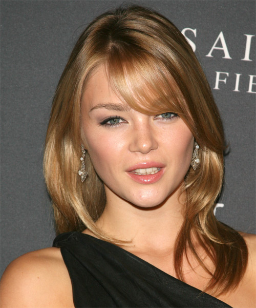 Sophie Dickens Long Straight Casual   Hairstyle with Side Swept Bangs  - Dark Blonde (Golden)