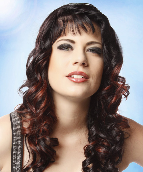 Long Curly Formal    Hairstyle with Blunt Cut Bangs  - Dark Brunette Hair Color with Dark Red Highlights