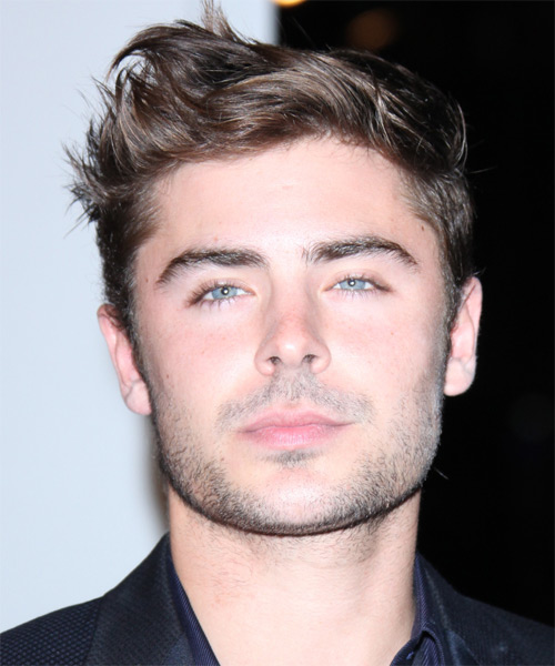 Zac Efron Short Straight Casual    Hairstyle   -  Brunette Hair Color