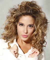 Medium Curly Casual    Hairstyle   - Dark Blonde Hair Color with Light Blonde Highlights