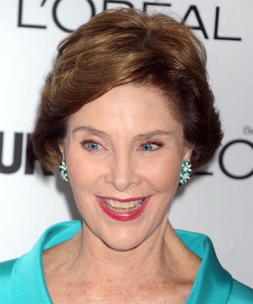 Laura Bush Short Straight Formal   Hairstyle   - Medium Brunette