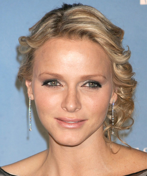 Princess Charlene of Monaco  Long Curly   Dark Champagne Blonde  Updo    with Light Blonde Highlights