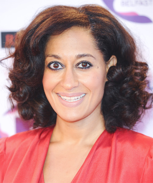 Tracee Ellis Ross Medium Curly Casual    Hairstyle   - Dark Brunette Hair Color