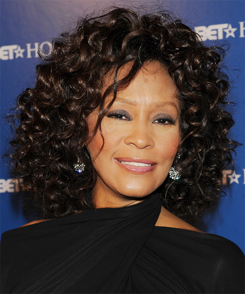Whitney Houston Medium Curly Formal    Hairstyle   - Black  Hair Color