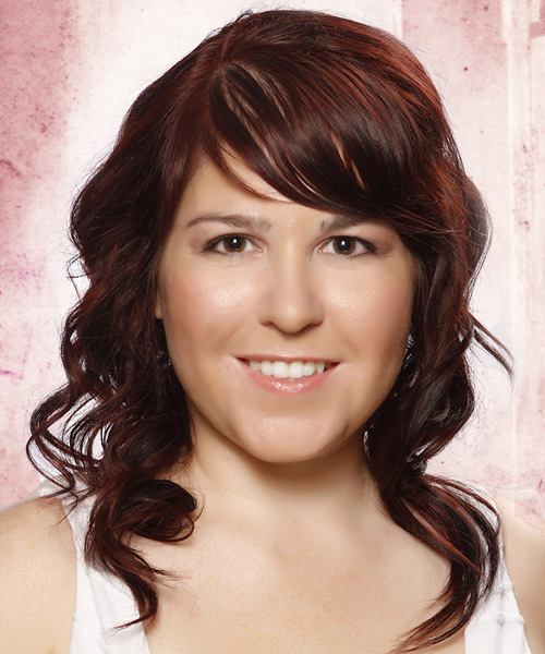 Medium Wavy Formal   Hairstyle with Side Swept Bangs  - Dark Red (Auburn)