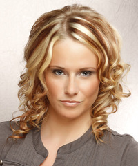 Medium Curly Formal    Hairstyle   - Light Blonde Hair Color with  Brunette Highlights