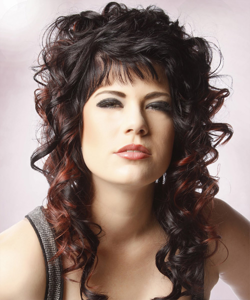 Long Curly Formal    Hairstyle with Blunt Cut Bangs  - Black  Hair Color with Dark Red Highlights