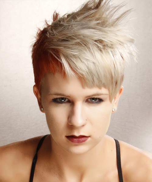 Short Straight Alternative Asymmetrical  Hairstyle with Blunt Cut Bangs  - Light Blonde (Ginger)