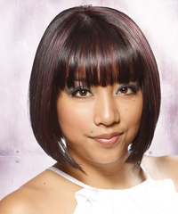 Short Straight Formal Layered Bob  Hairstyle with Blunt Cut Bangs  - Dark Brunette Hair Color with Purple Highlights