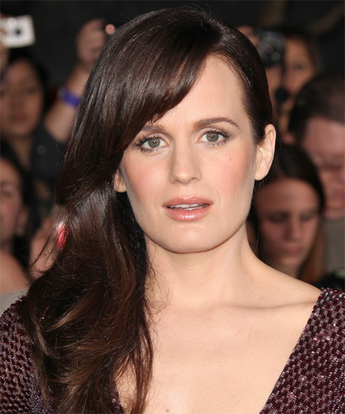 Elizabeth Reaser Long Straight Formal   Hairstyle with Side Swept Bangs  - Dark Brunette (Chocolate)