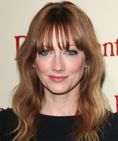 Judy Greer Long Wavy   Light Auburn Brunette   Hairstyle with Blunt Cut Bangs
