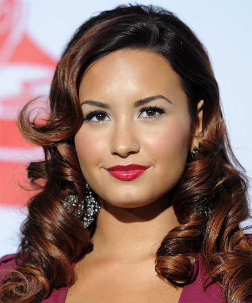 Demi Lovato Long Curly Feminine Hairstyle with Side Swept Bangs - Black Hair Color with Medium Brunette Highlights