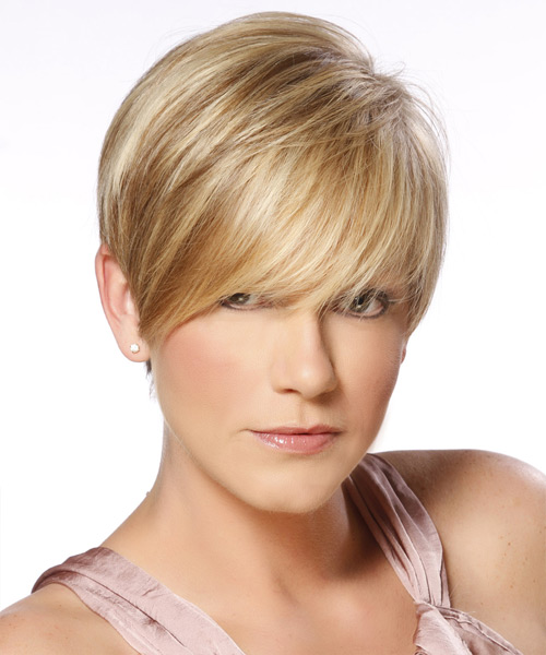 Short Straight Formal   Hairstyle with Side Swept Bangs  - Dark Blonde (Golden)