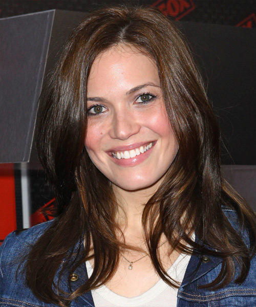 Mandy Moore Long Straight Casual   Hairstyle   - Dark Brunette (Chocolate)
