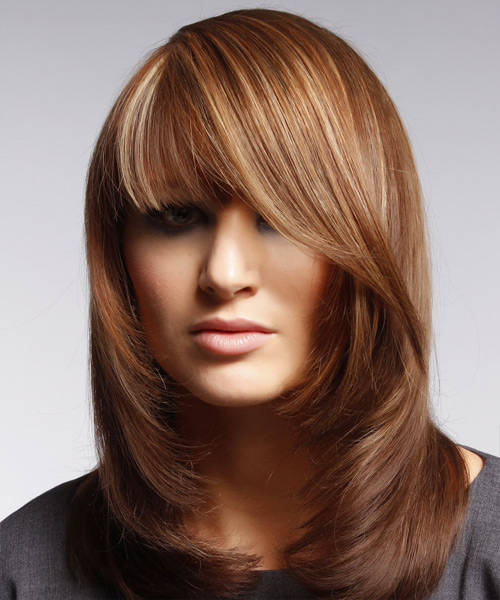 Medium Straight Hairstyle with Blunt Cut Bangs - Copper Brunette Hair Color with Light Blonde Highlights