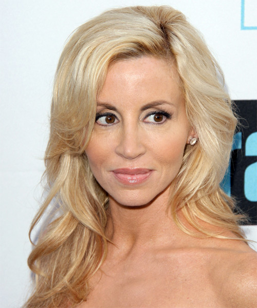 Camille Grammer Long Straight Formal   Hairstyle with Side Swept Bangs  - Light Blonde
