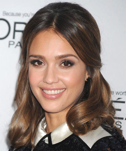 Jessica Alba  Medium Curly Formal   Updo Hairstyle   - Medium Brunette Hair Color with Light Brunette Highlights