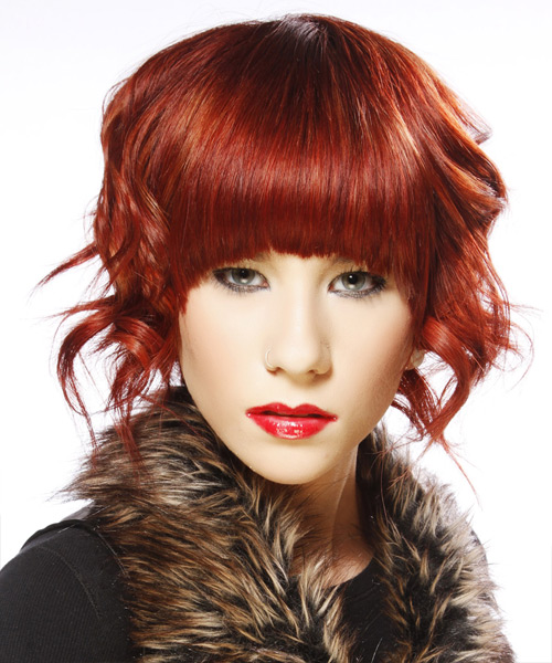 Medium Wavy Alternative   Hairstyle with Blunt Cut Bangs  - Dark Red (Bright)
